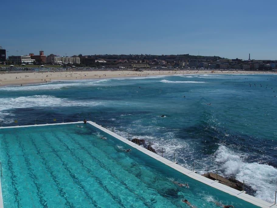 Bondi Beach is 10 minutes walk away
