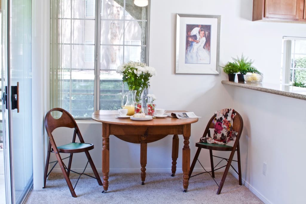 Dining area. There are 6 chairs that are available and the table is able to be made bigger or smaller depending on how big of a group you will be!