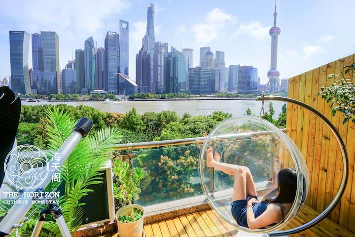 『海天阁Horizon』外滩中心无敌江景 豪奢整套双卧室 日式茶室 和服拍摄 网红太空椅