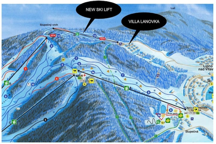 Nová lanovka na Lipně 50m od domu. New Ski Lift 50m from our house.