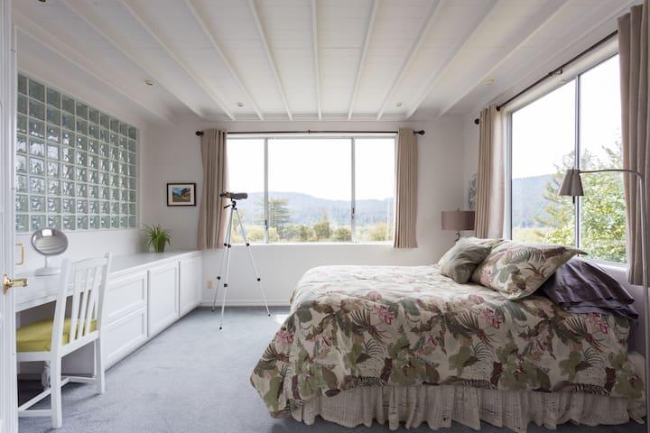 Queensize Bedroom on Main Upstairs Floor Opens into the Living Room