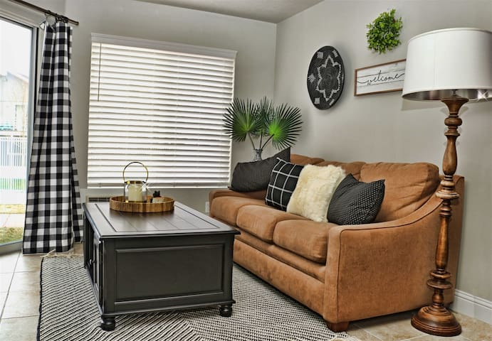 Pull out couch in living room