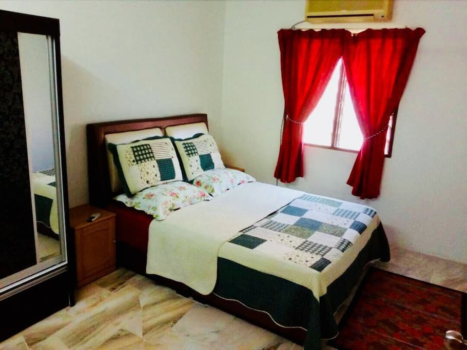 Master Bedroom with Queen Bed, Wardrobe, Air Conditioner & Ceiling Fan