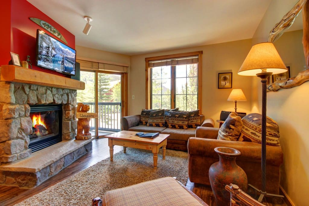 Gas fireplace and large TV