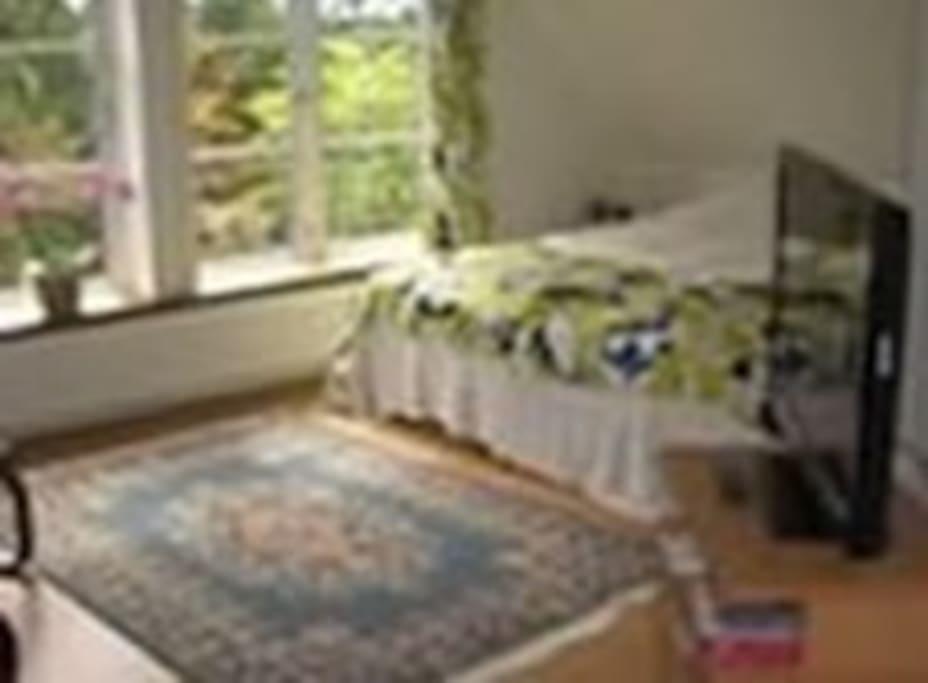 Master bedroom med dobbeltseng.