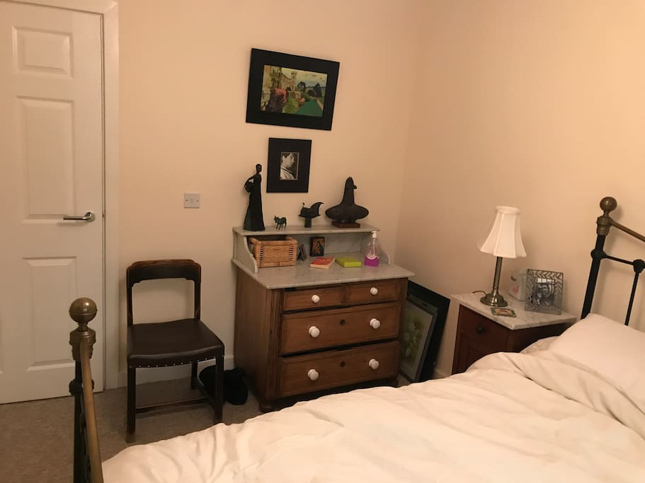 Bedroom with draw space and comfy double bed