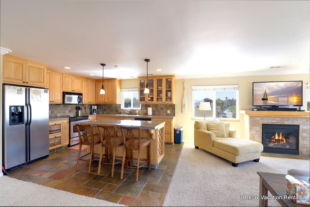 The kitchen and living area has a nice open floor plan.