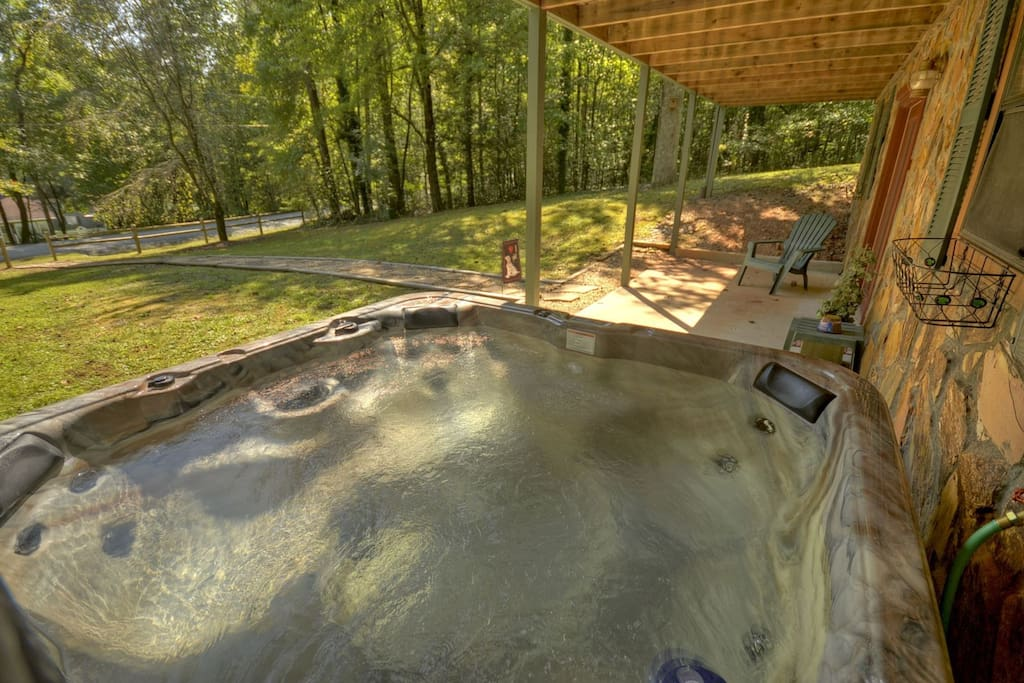 Bubbling hot tub ready for your arrival