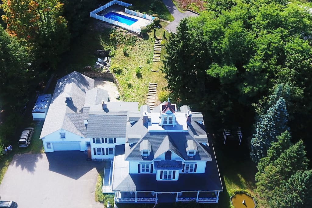 Drone View of the Center Harbor Sutton House B & B  (Enlarge for full view)