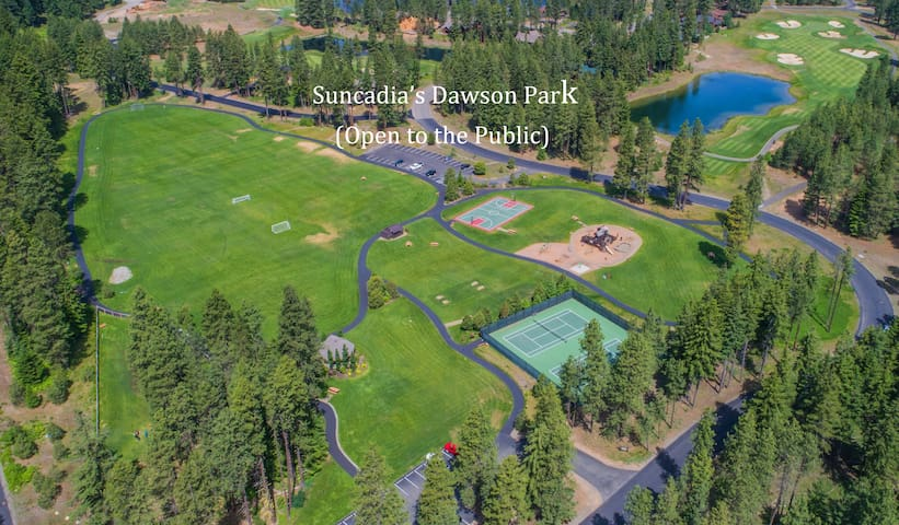 Dawson Park in Suncadia. Tennis, Horseshoes, Basketball, Play Structure, Frisbee Golf, Soccer, and more!