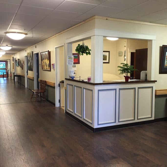 Front desk and Main hall