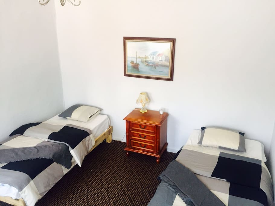 The Room with two twin beds is located in the second floor of the house