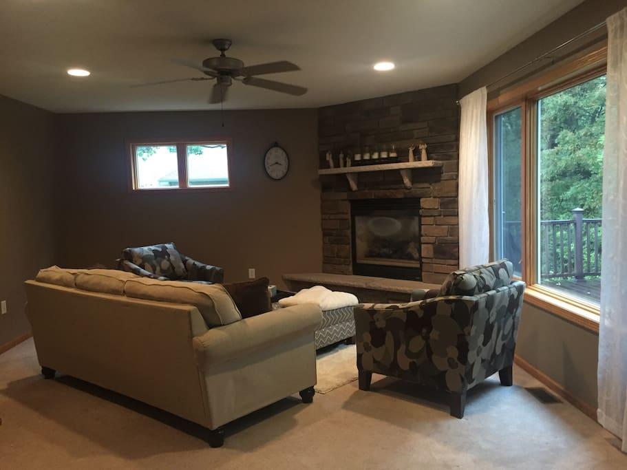 Main floor living room.  Open floor plan to kitchen and dining room.