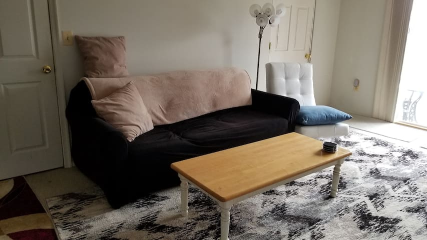 This is the sleeper-sofa between the door to your bedroom and the door to your walk-in closet.  Another Airbnb guest may rent the sleeper-sofa while you are here.