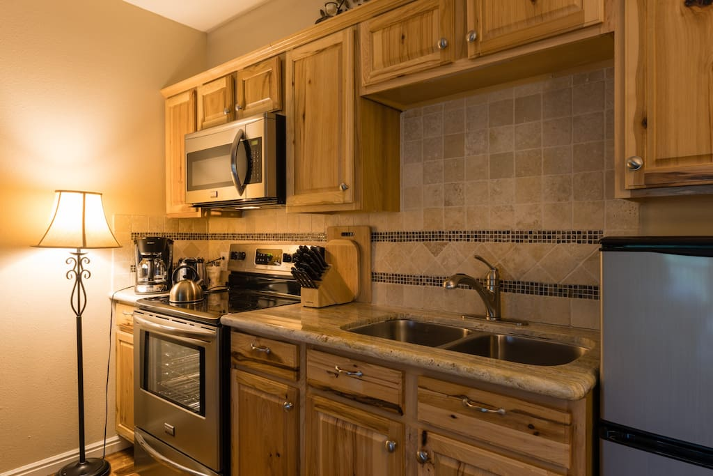 Full kitchenette for your enjoyment, save money by having a meal or two at home.