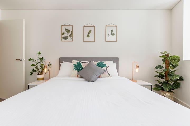 Open loft bedroom high above