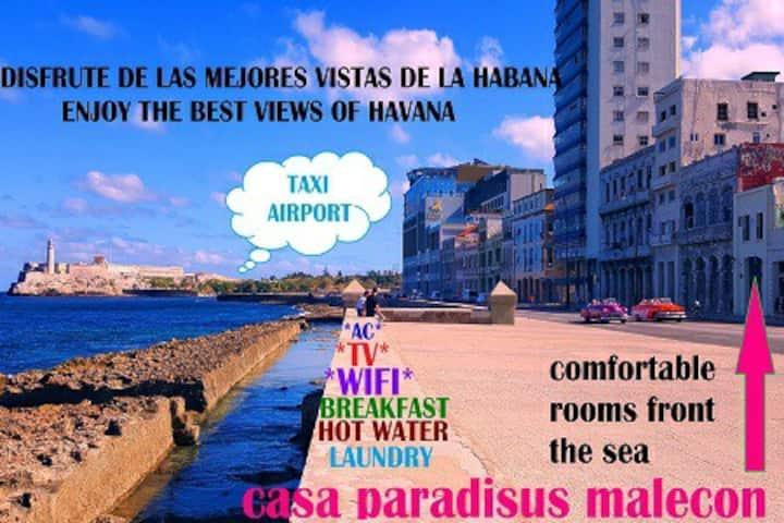 Casa Paradisus Malecón 1 front the sea  😉wifi🇨🇺