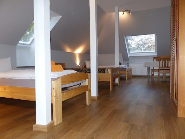 4-Bett Zimmer mit Kühlschrank und Smart-TV