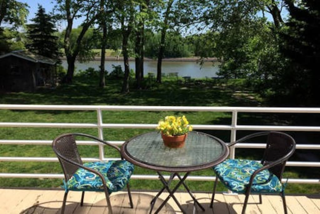 Enjoy coffee on the deck from the kitchen