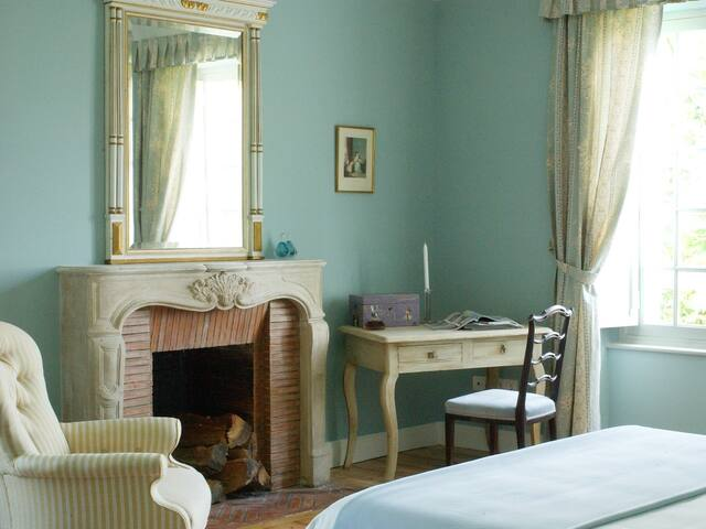 The Blue Bedroom in the Manor House - with views of the Pyrenees Atlantique
