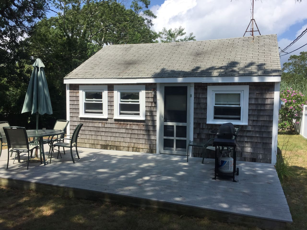 Front of house and large deck