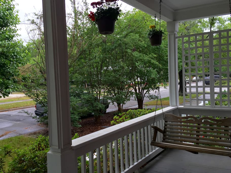 Seeking some porch sitting? We've got a romantic, tree lined street view. Yes, the perfect spot on a historic street.