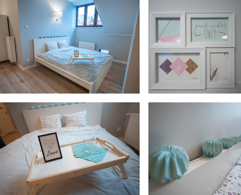 szerokie łóżko małżeńskie, strefa sypialna