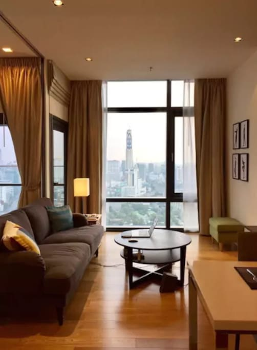 STUNNING views from the living room and bedroom over Bangkok city