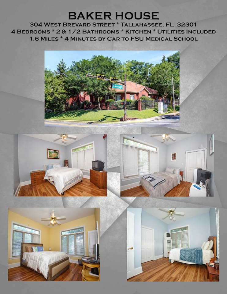 Centrally located one block west of the Governor's Mansion, 7-10 block walk to downtown, & Midtown,  2-3 miles to the Doak.  5 minute drive to FAMU & FSU. Quiet & secure next to Oakland Cemetery.