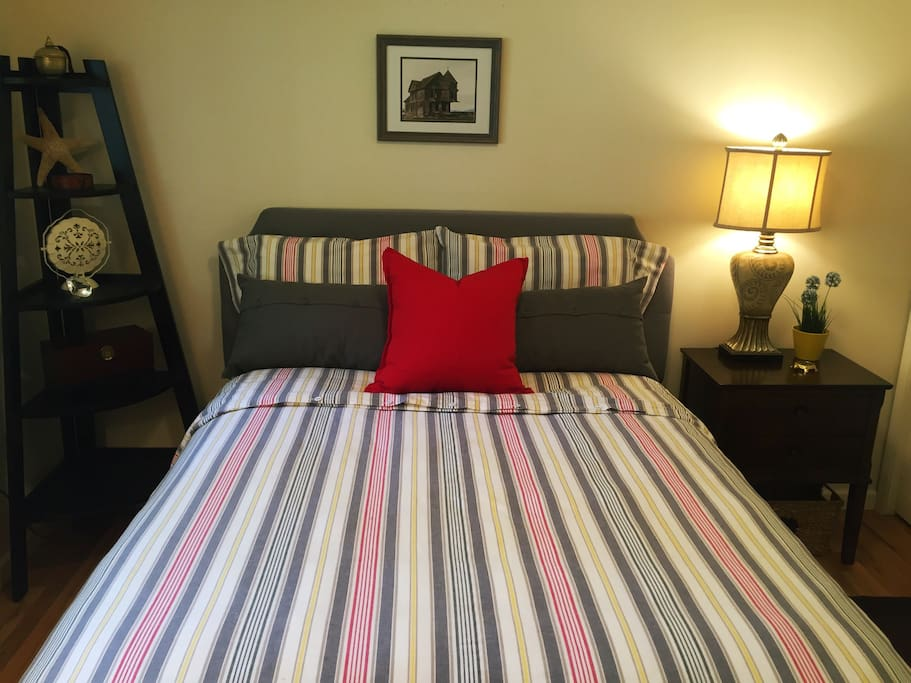 Comfortable and clean guest-room features a new, full-sized mattress, a cozy down comforter and fresh, 100% cotton sheets.