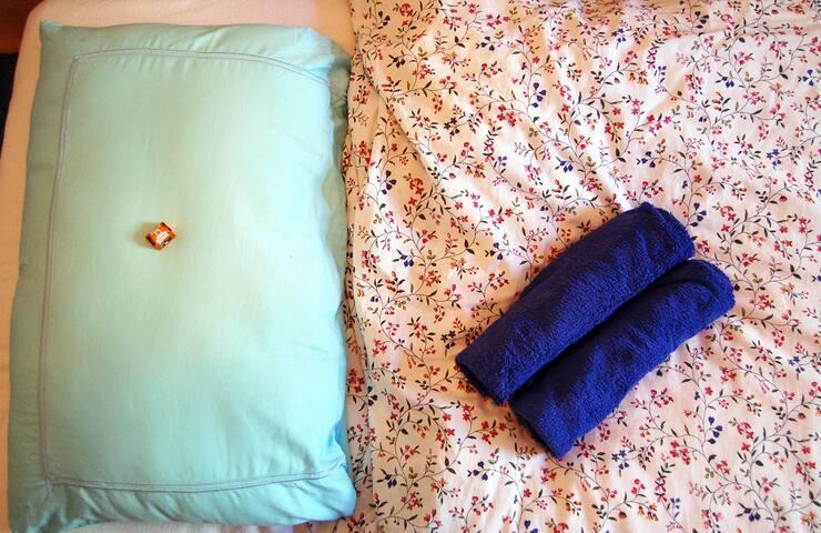 Handtuch und Willkommensschokolade / towels and welcome sweets