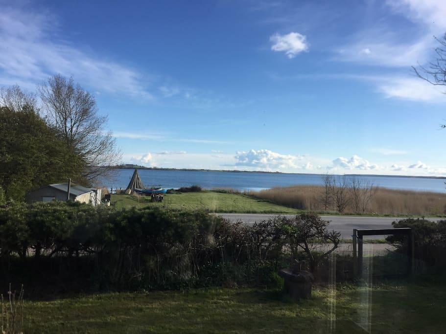 Udsigt fra haven over engen lige ned til vandet/view from the house