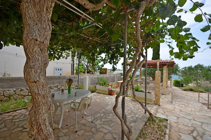 Studio Apartment, beachfront in Novalja - island Pag, Terrace
