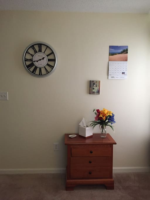 Clock, nightstand, etc.