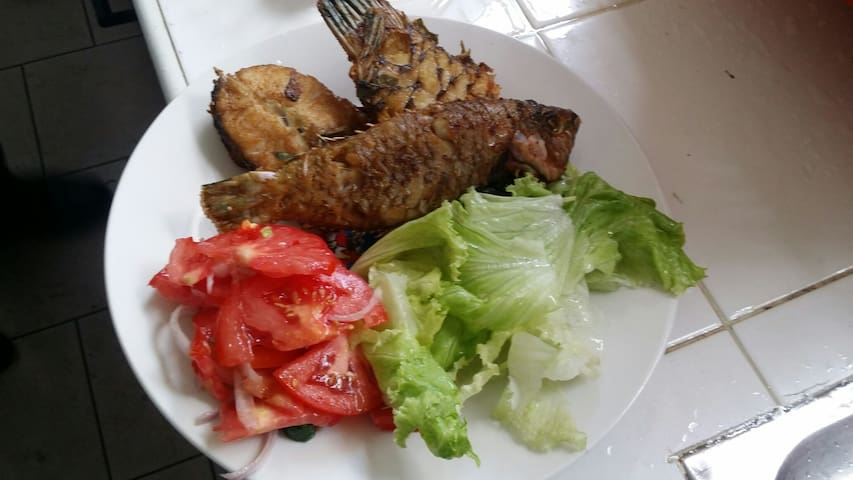 Dinner for guest tonight  fresh fish with salads