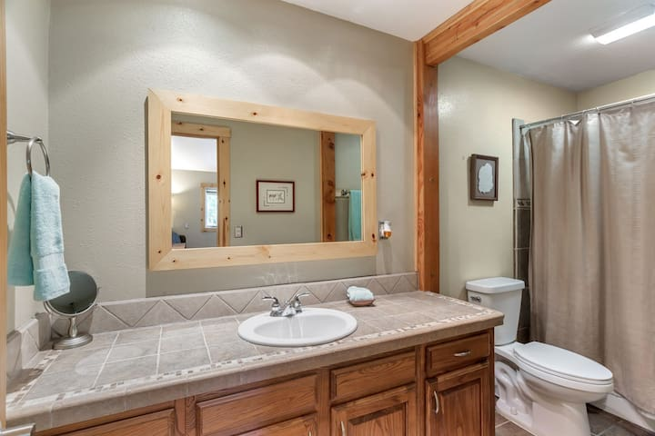 Master bedroom in suite bathroom