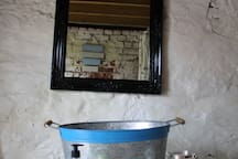 All mod cons, our wash basin & mirror