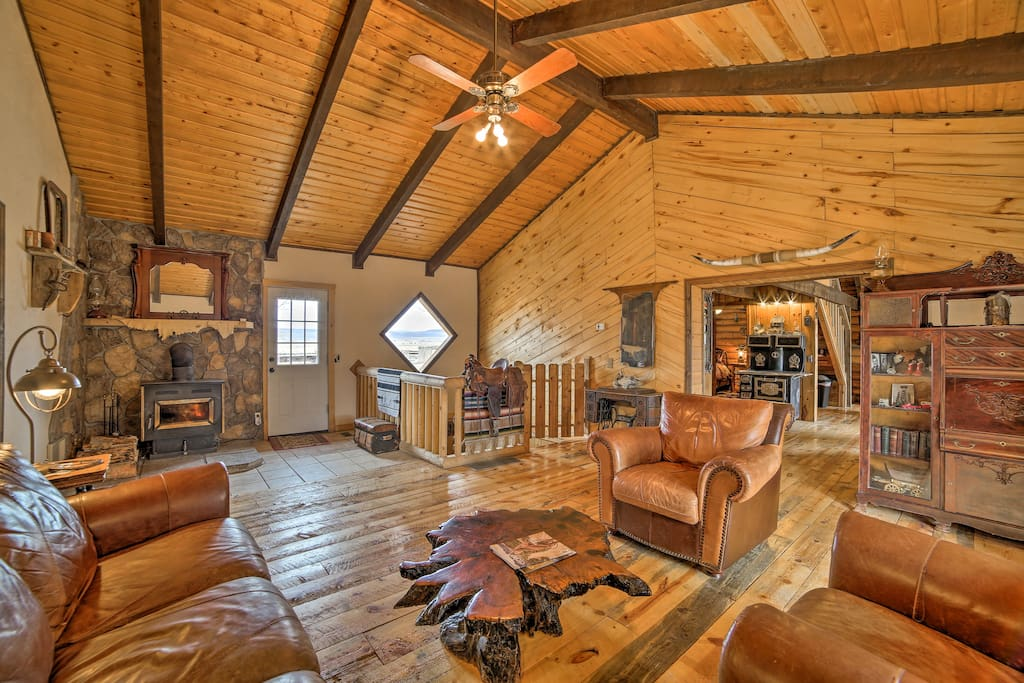 Warm wood walls and beamed ceilings welcome you!