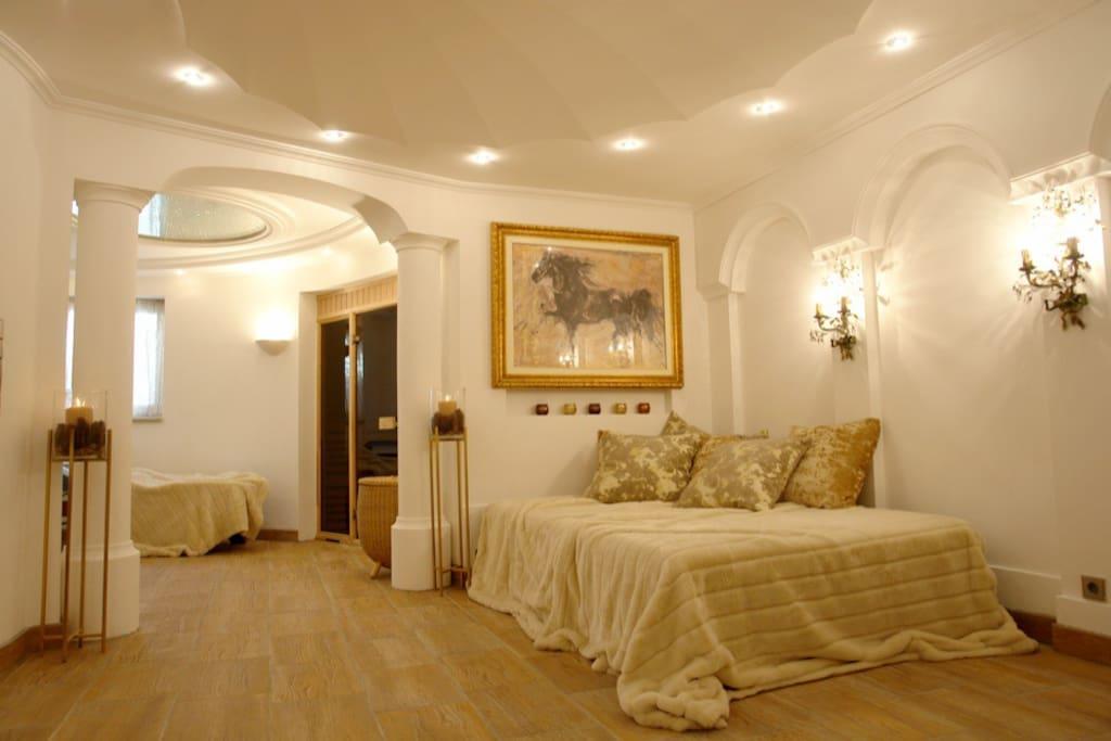 The luxury bedroom with sauna