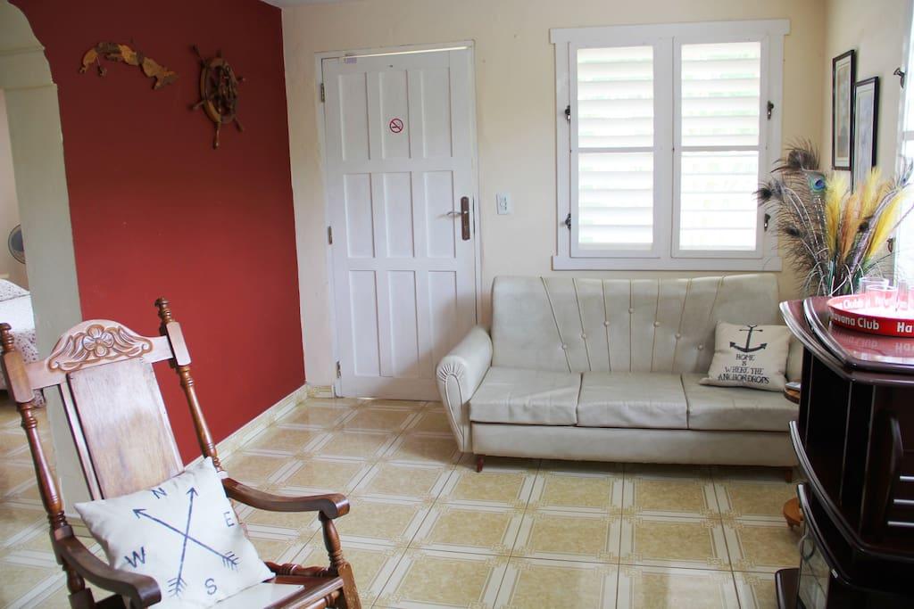 Living room (door seen in picture is front door)