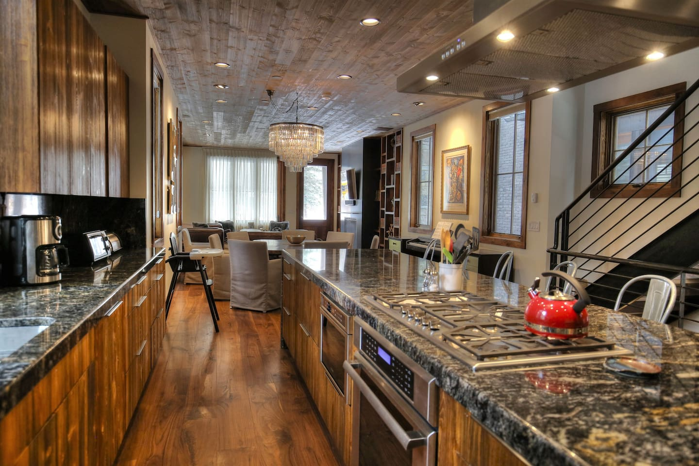 Fully equipped gourmet kitchen with lots of counter space.