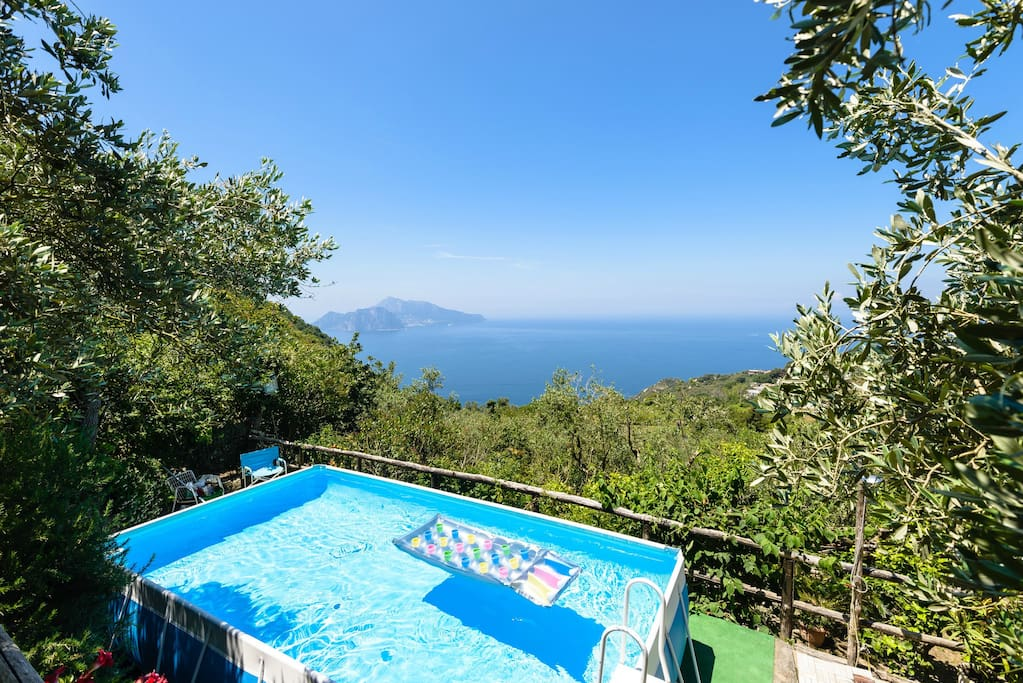 pool terrace with Capri view