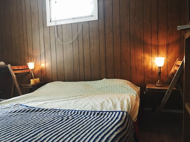 your private bedroom, cabin vibes.