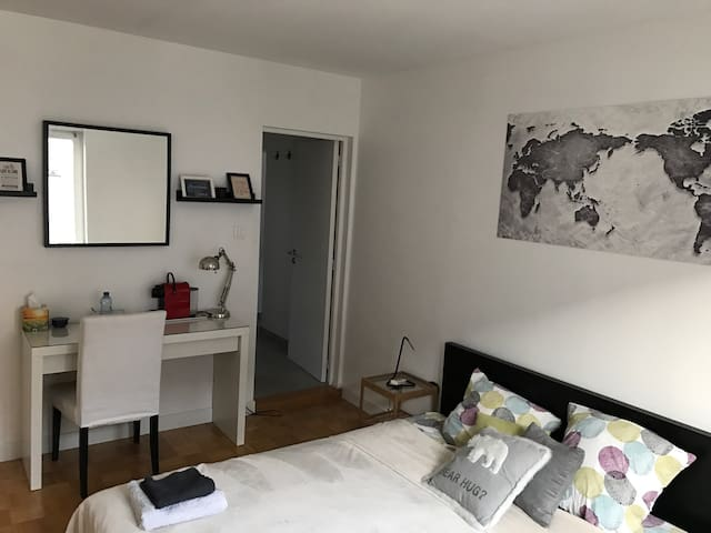 Nice big room with private bathroom and toilet - Fegersheim - Adosado