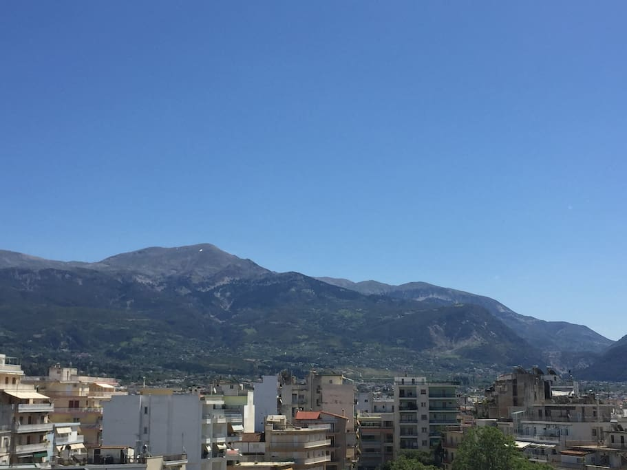 view from the apartment (Panahaikon mountain)