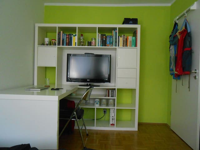 Integrated in the wall unit is a TV-screen. WLAN, of course!
