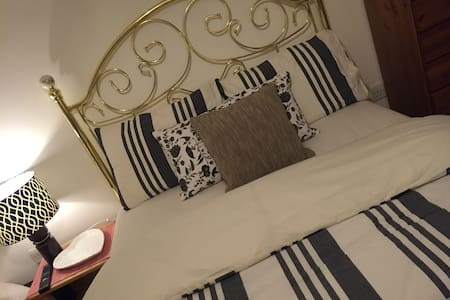 Our apartment provides our guests with a lovely, comfortable, airy double bedroom equipped with their own smart Wi-Fi TV, Plus Exclusive use of their own bathroom! The location is great for access to Train Station, 5 mins & Town 8 mins.