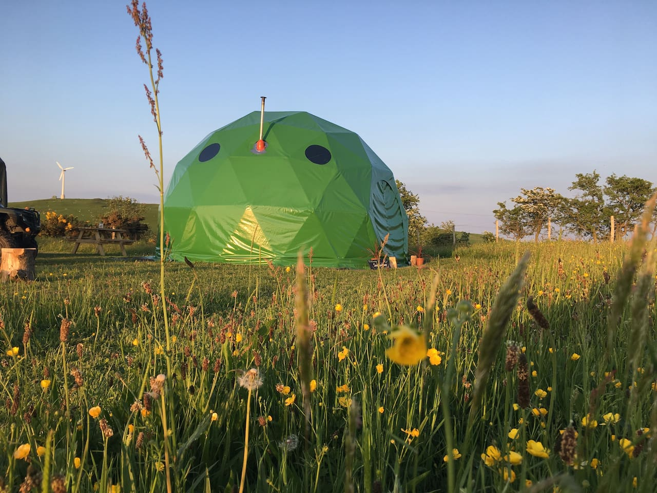 The dome is situated in a beautiful meadow