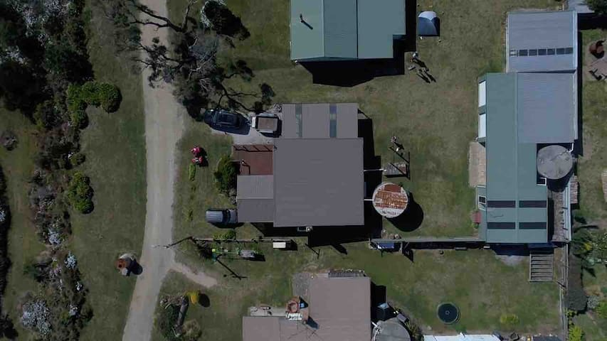 Arial view of the shack.