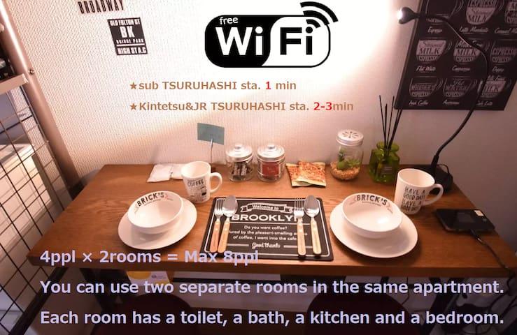 ★Max8ppl/2room set★1min Sta/Near Namba/Wifi Free